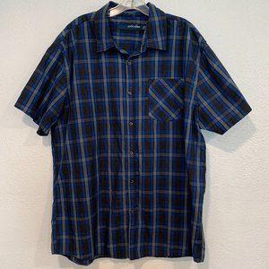 Anchor Blue Men's XXL Button Up Plaid Shirt S/S